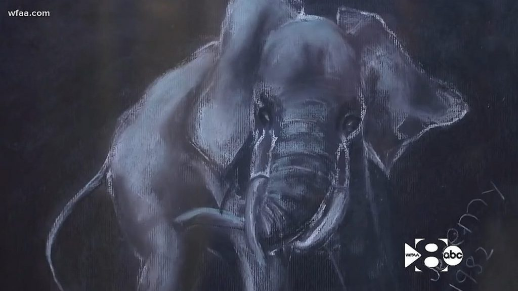 Jeremy Wade Delle Elephant drawing Best of Shows Texas fair 1982